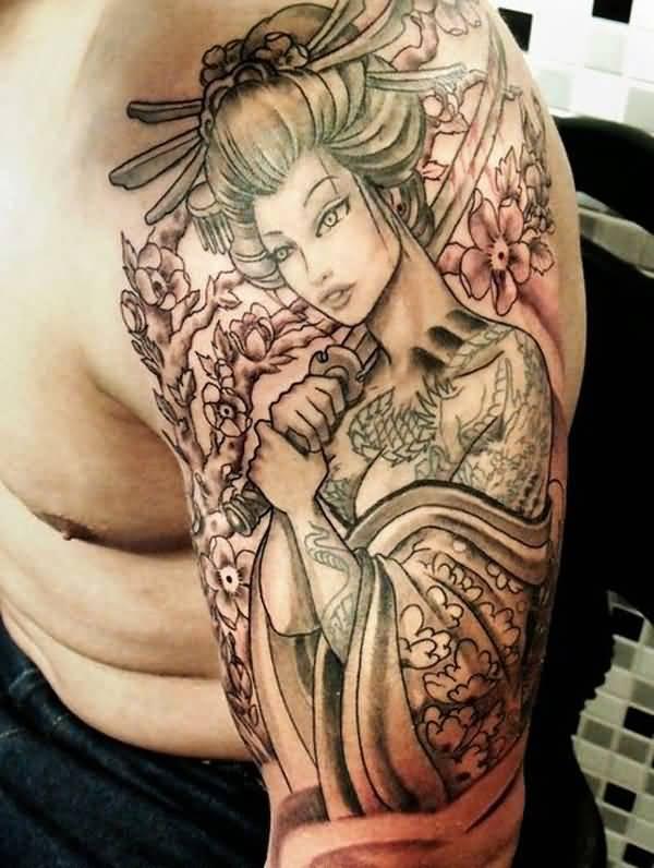 Hình xăm Geisha cô gái cầm kiếm full tay
