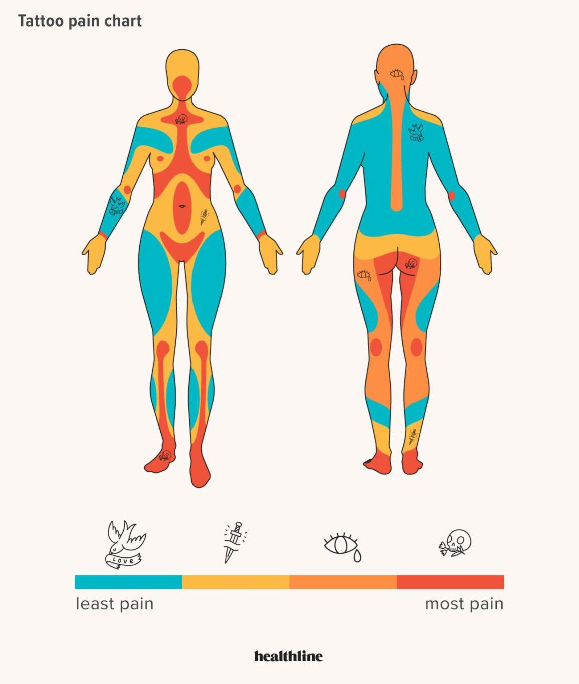 biểu đồ mức độ đau khi xăm hình