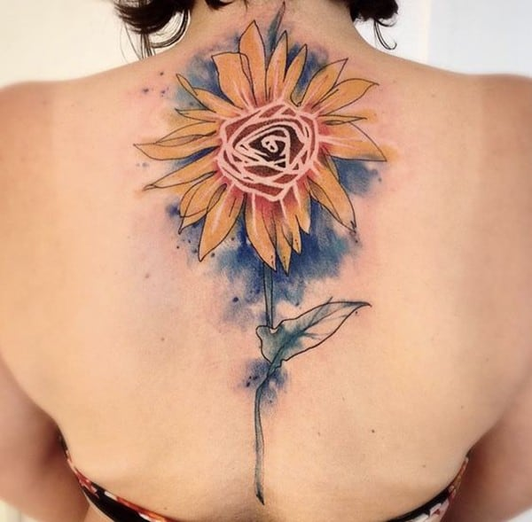 Colorless sunflower tattoo