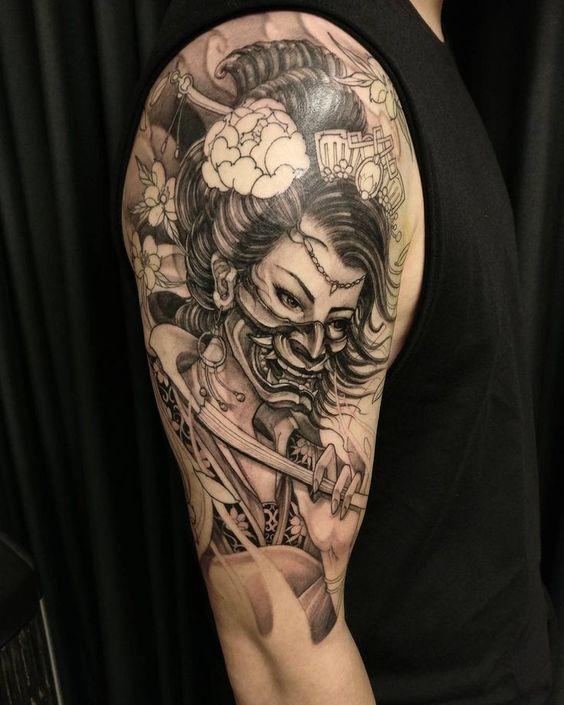 hình xăm chiến binh geisha samurai