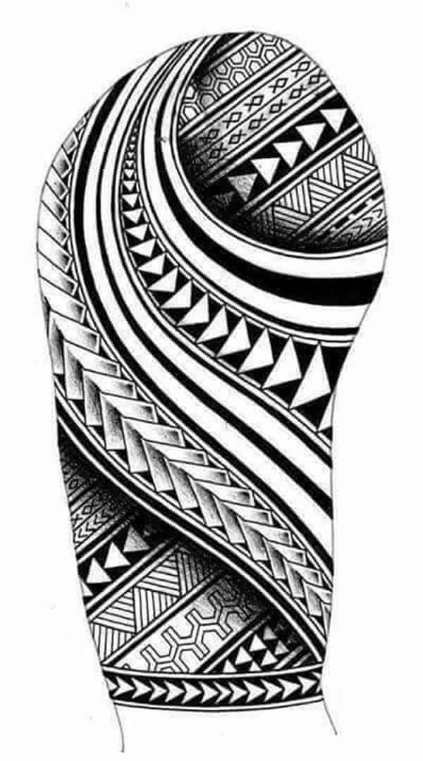 thiết kế hình xăm cho bắp tay họa tiết maori
