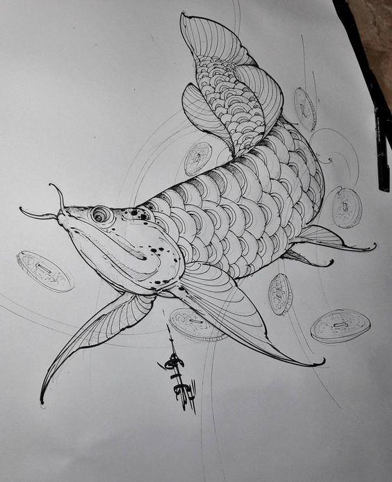 hình xăm cá rồng đẹp