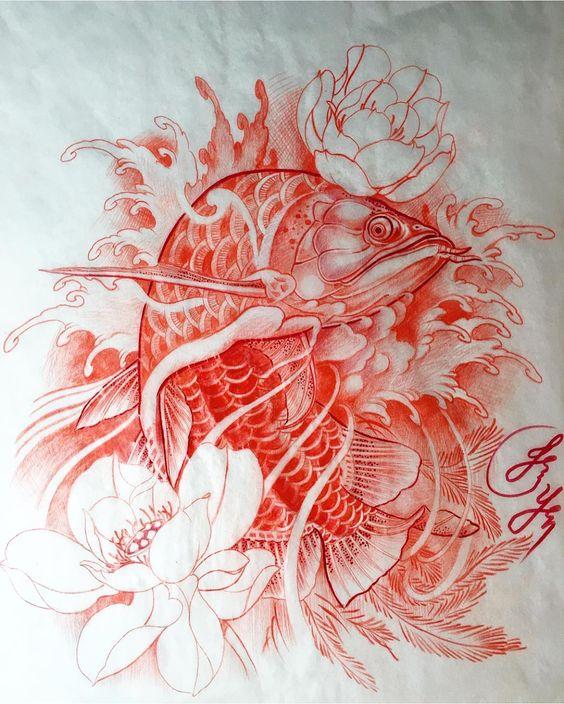 hình xăm cá rồng màu đỏ đẹp