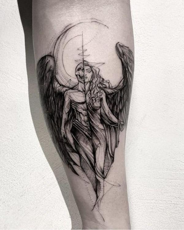 hình xăm cánh thiên thần ác quỷ