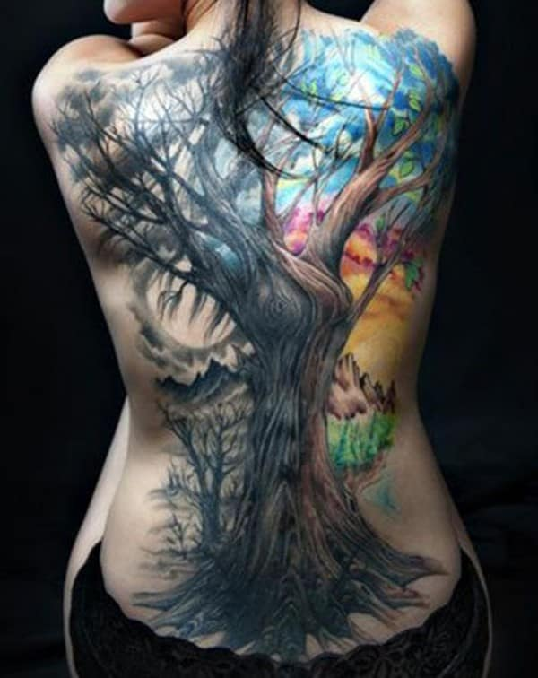 Hình xăm cây cổ thụ kín lưng