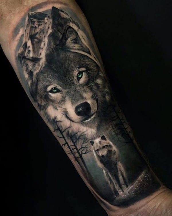 hình xăm chó sói 3d trên tay