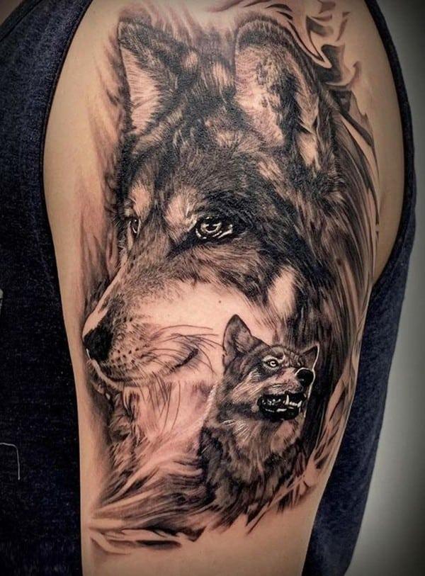 hình xăm chó sói nghệ thuật