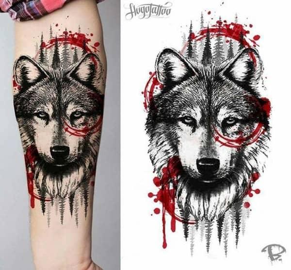 hình xăm chó sói nhỏ cho nữ