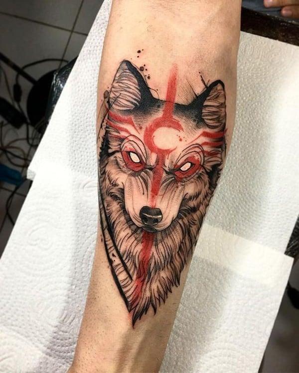 hình xăm chó sói nhỏ