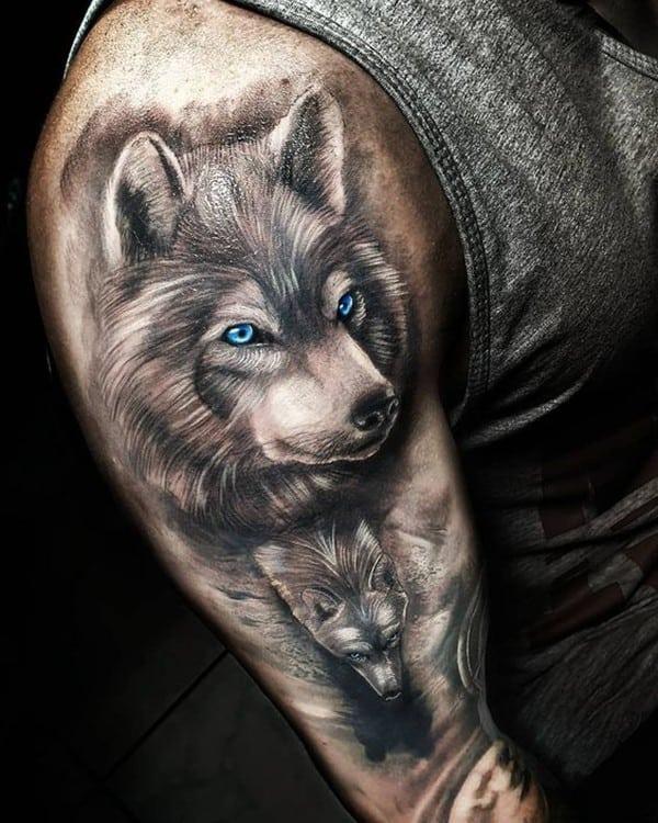 hình xăm chó sói ở bắp tay