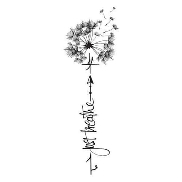 hình xăm chữ và hoa bồ công anh