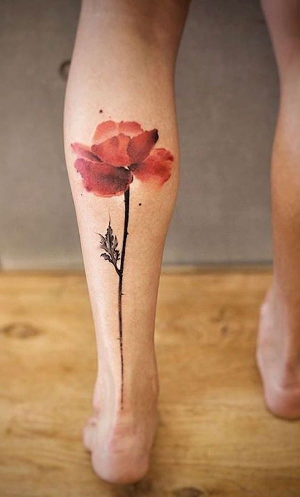 hình xăm hoa anh túc ở chân