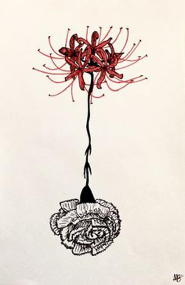 hình xăm hoa bỉ ngạn nhỏ ở tay có rễ