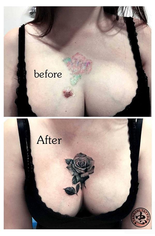 hình xăm hoa hồng trước ngực nữ