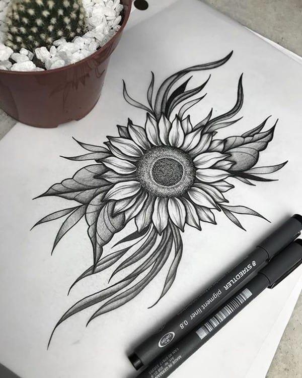 hình xăm hoa hướng dương cho nam