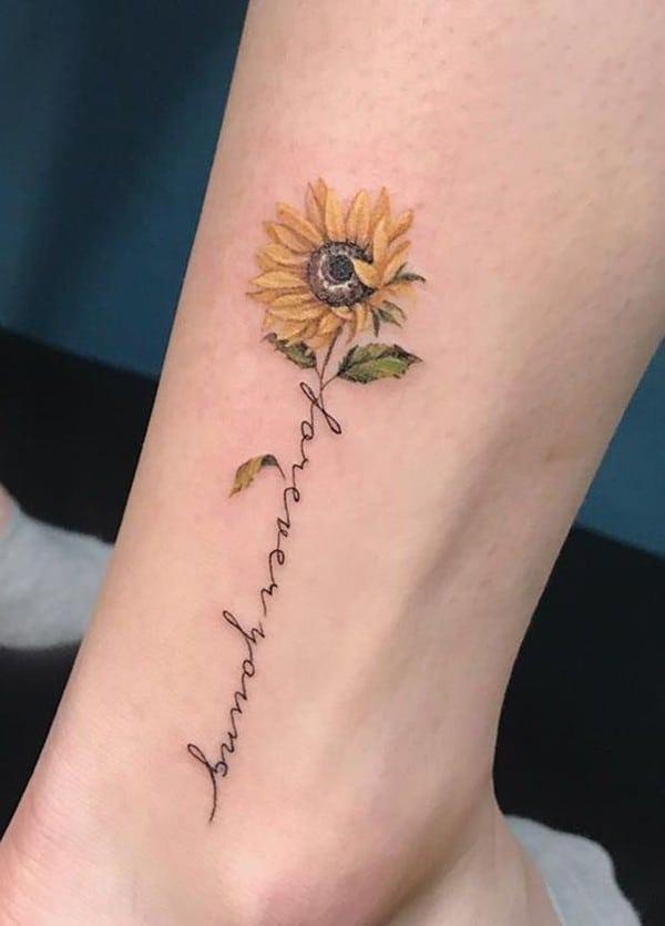 hình xăm hoa hướng dương có chữ