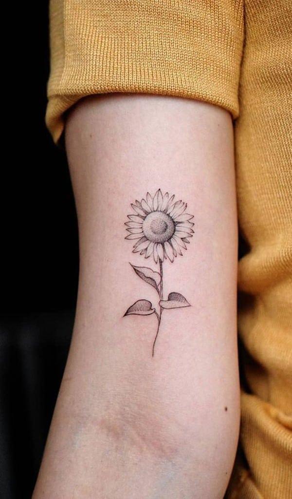 hình xăm hoa hướng dương mini