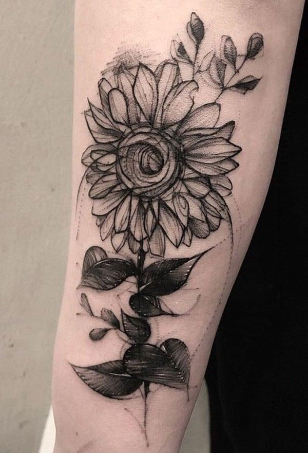 hình xăm hoa hướng dương ở chân