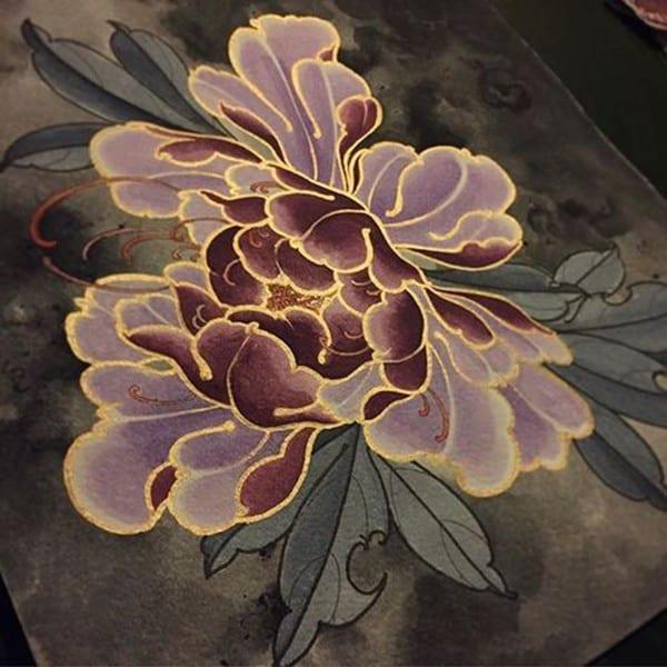 hình xăm hoa mẫu đơn màu