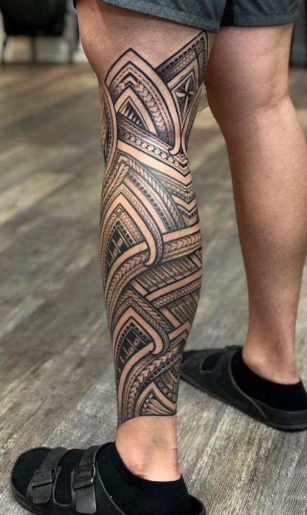 hình xăm maories chân