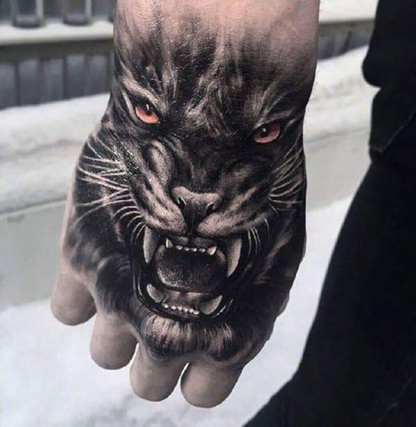 hình xăm mặt hổ trên bàn tay đẹp