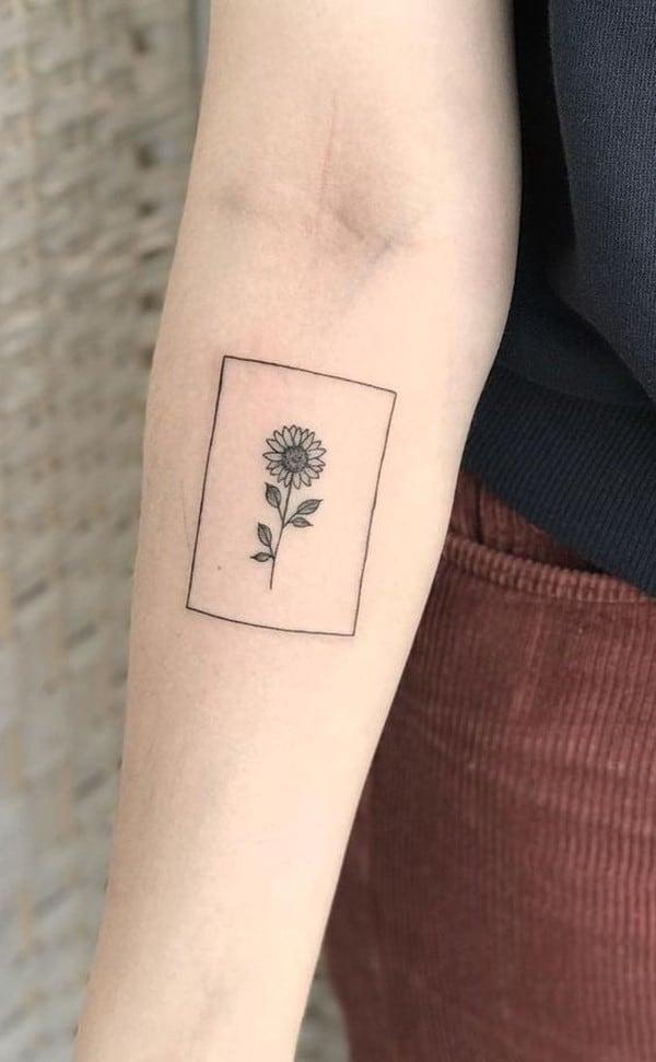 hình xăm mini hoa hướng dương
