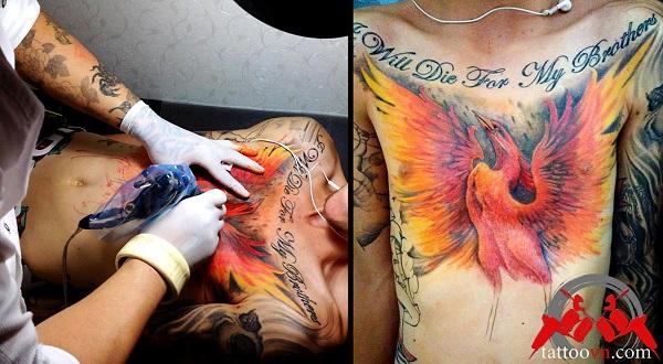 xăm hình phượng hoàng lửa trước ngực của nam