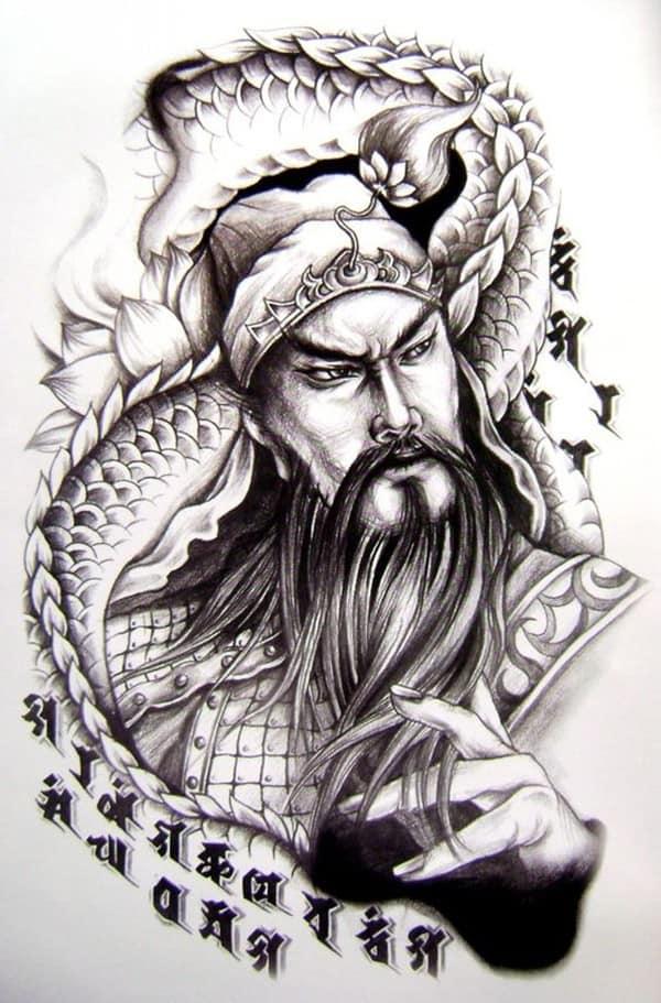 Hình xăm quan công họa tiết rồng