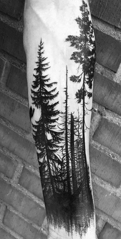 hình xăm rừng cây