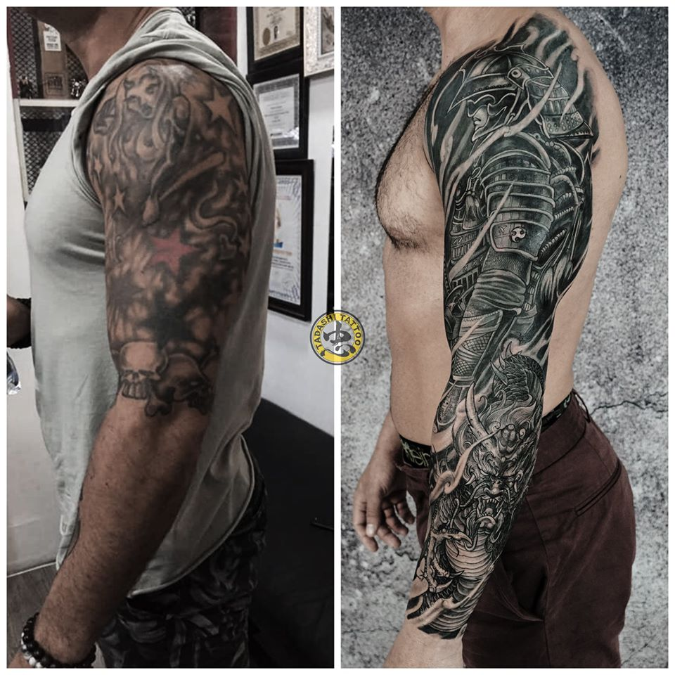Cover hình xăm samurai full cánh tay