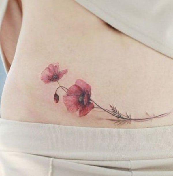 hình xăm tattoo hoa anh túc ở eo