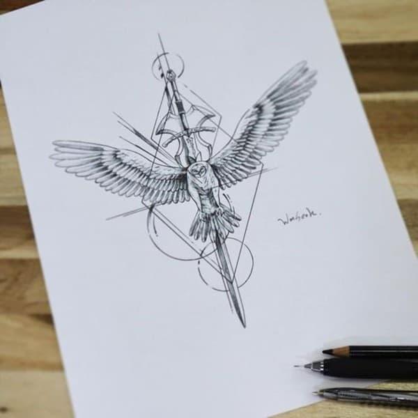 hình xăm thánh giá cánh thiên thần