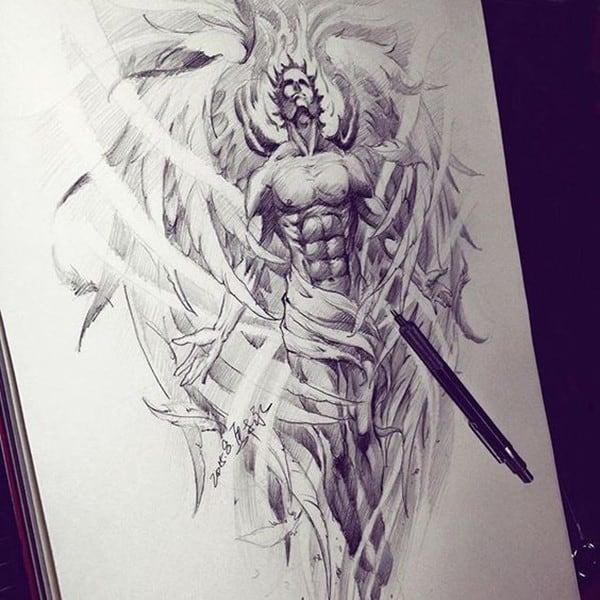 hình xăm thiên thần cho nam