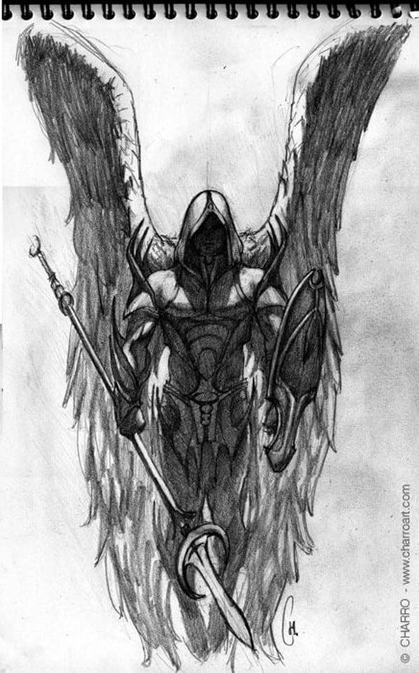 hình xăm thiên thần có cánh