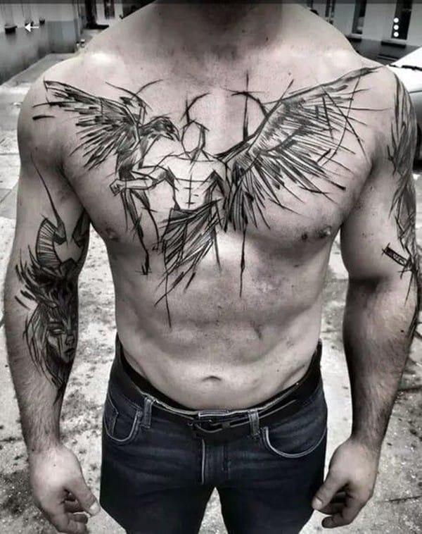 hình xăm thiên thần đẹp cho nam