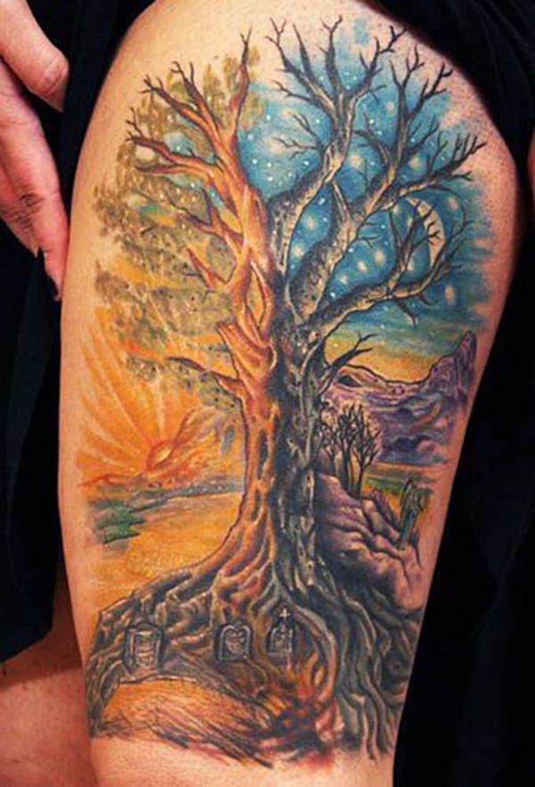 Hình xăm tree of life trên đùi