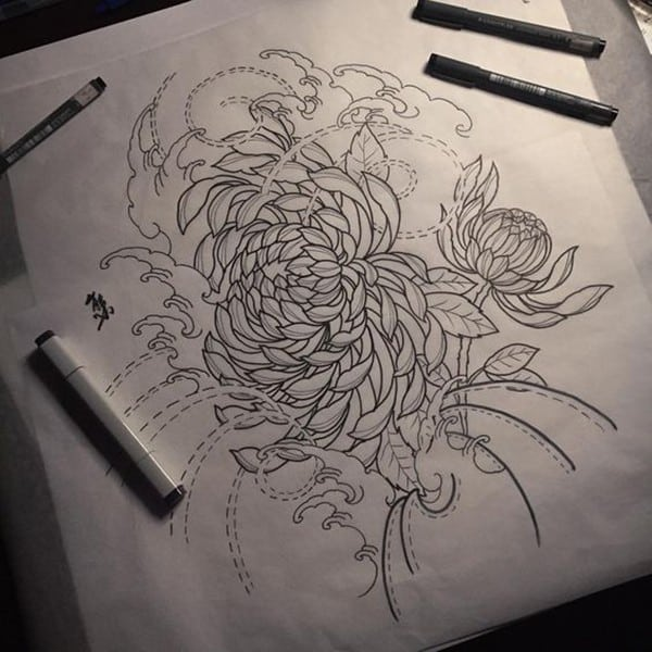 japanese chrysanthemum tattoo design