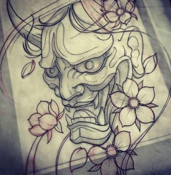 Mặt quỷ oni và hoa