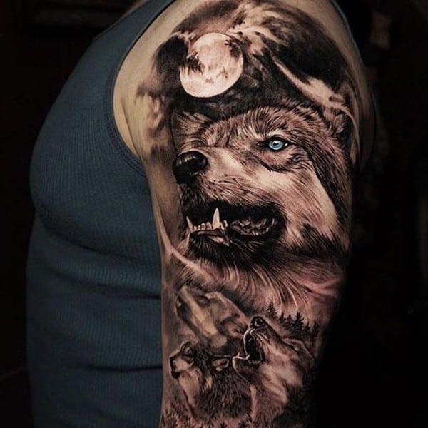 mẫu hình xăm chó sói đẹp