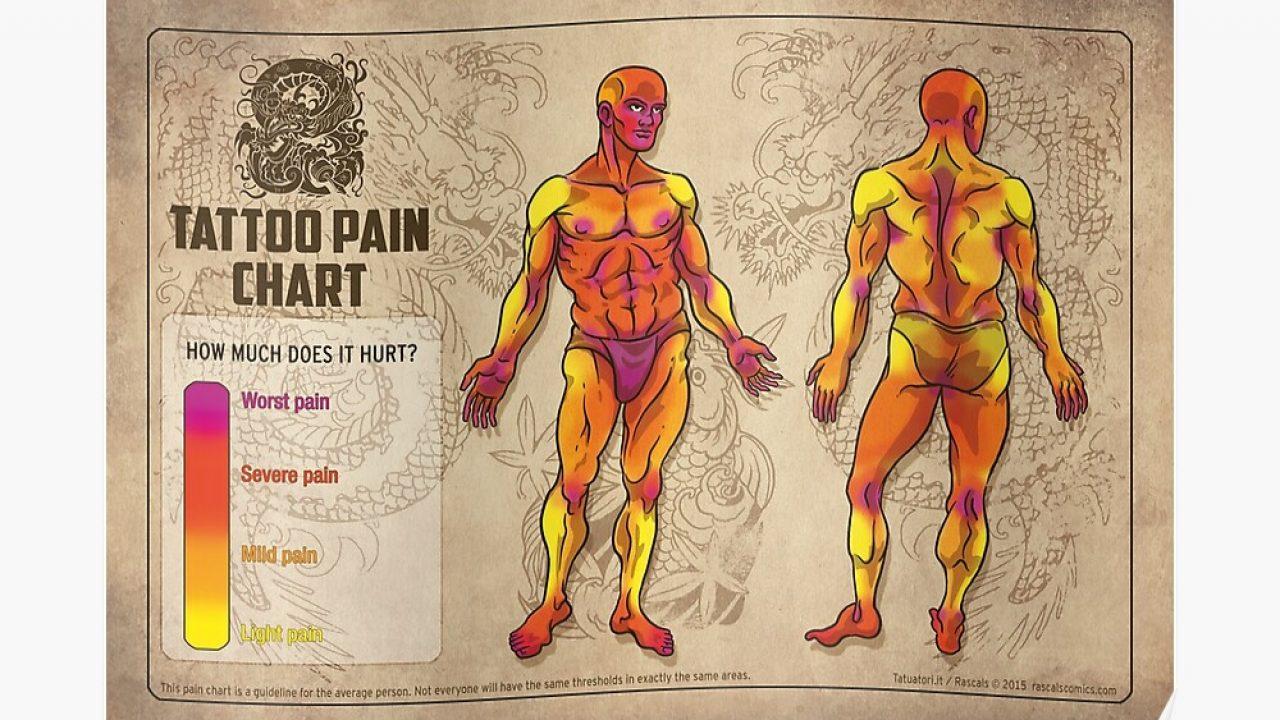 biểu đồ mức độ đau khi xăm trên cơ thể