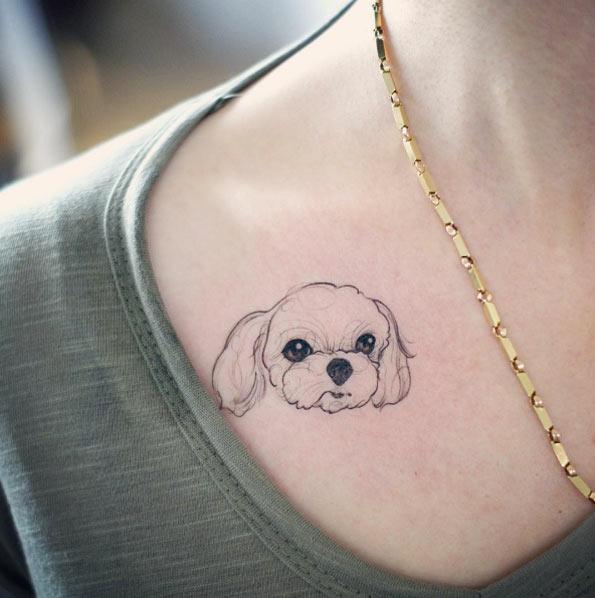 Ngẩn ngơ với bộ hình xăm về những chú chó đáng yêu