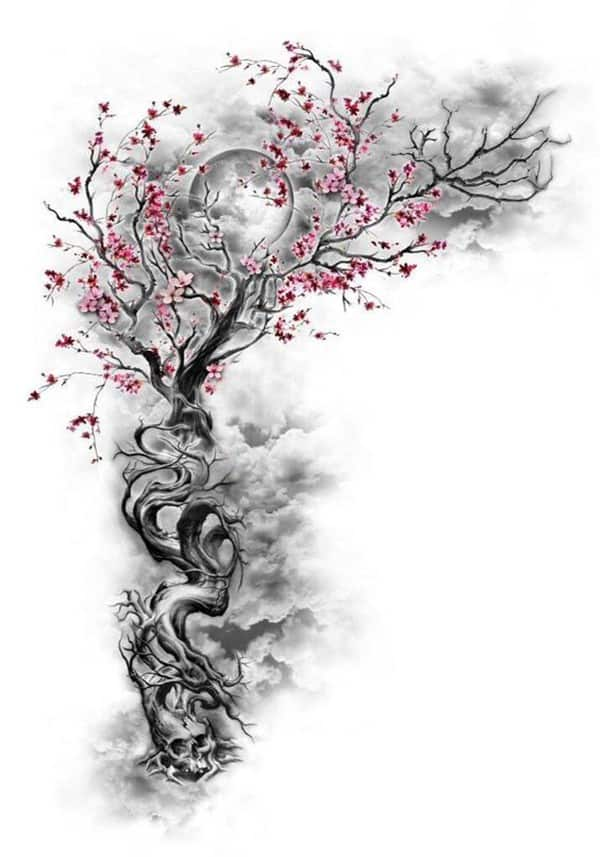tattoo hoa anh đào mini