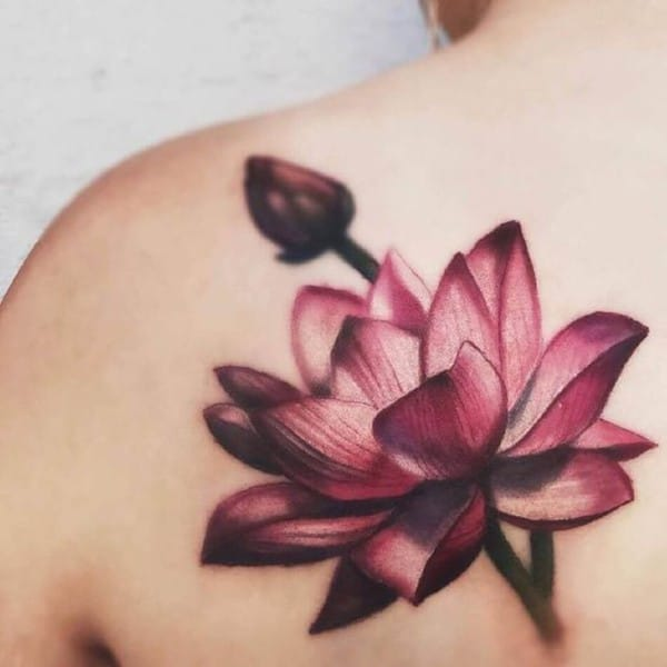 tattoo hoa sen màu