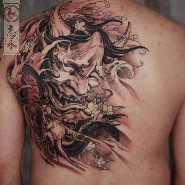 Tattoo mặt quỷ hannya oni