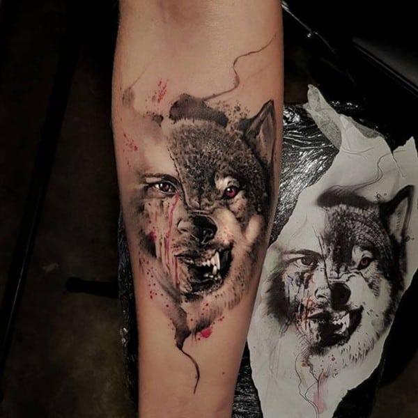 xăm chó sói