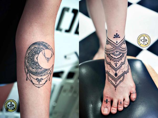 hình xăm hoa văn mandala ở tay và chân
