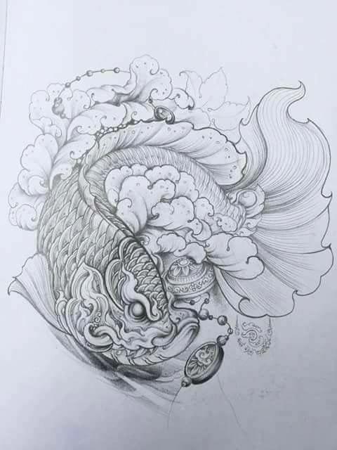 Hình xăm cá rồng chở đồng tiền