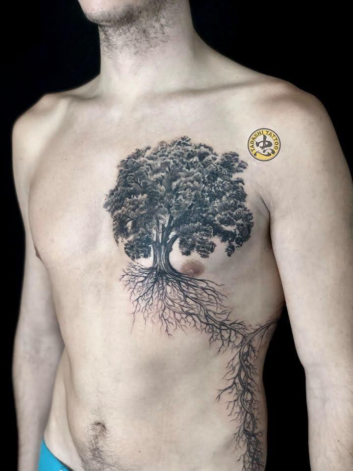 hình cây cổ thụ trước ngực