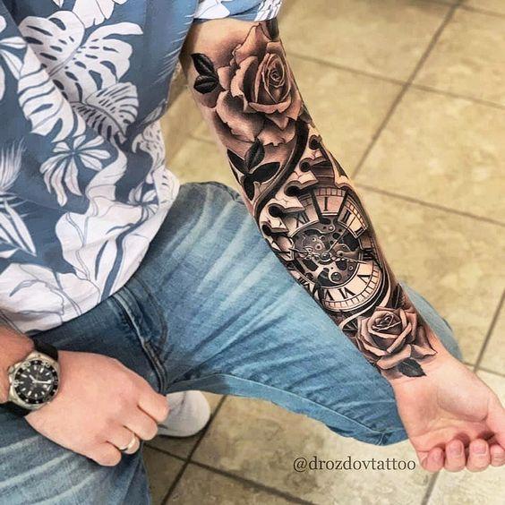 xem hình xăm đồng hồ la mã với hoa hồng