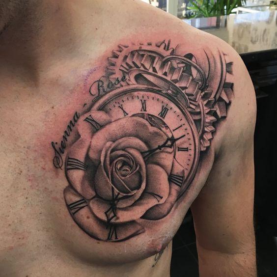 xăm hình hoa hồng đồng hồ cổ trước ngực